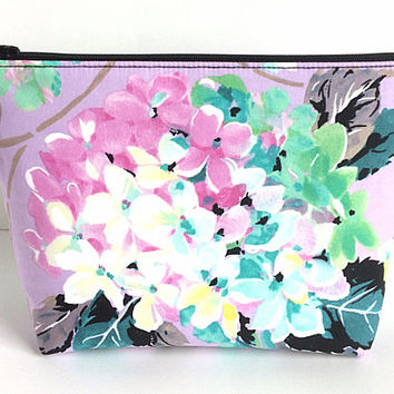 Large Makeup Bag, Project Bag, Purple Cosmetic Bag, Floral Zipper Pouch, Art Supply Bag