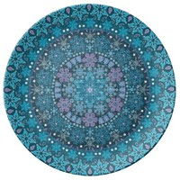 Boho Intricate Blue Snowflakes Porcelain Plate