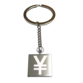 Silver Toned Etched Japanese Yen Currency Sign Pendant Keychain