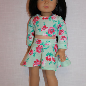 18 inch doll clothes, floral print skater/circle skirt and matching long sleeve crop top, Upbeat Petites