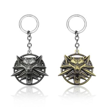 The Witcher 3 Keychain Wild Hunt Wolf Shape Key Ring Holder Metal Fashion Car Bag Chaveiro Key Chain Pendant Game Jewelry