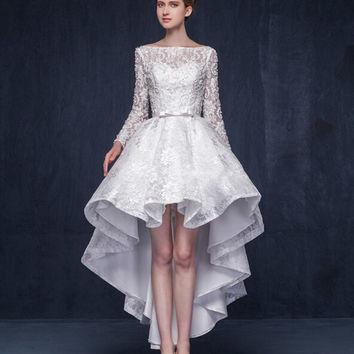 Real Photo White Original Design Elegant Cocktail Dress 2016 Long Sleeves Sweet Flowers Party Gowns Short Dresses High Low