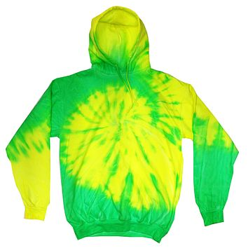 Tie Dye Pullover Multi Color Flourescent Yellow Lime Swirl Hoodie
