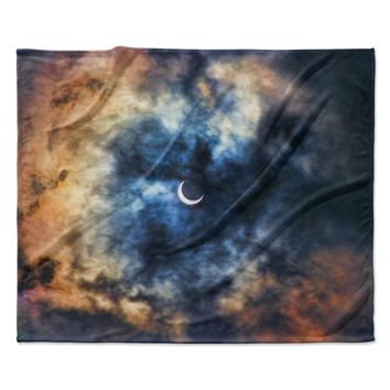 "Bruce Stanfield ""Night Moves"" Blue Orange Fleece Throw Blanket"