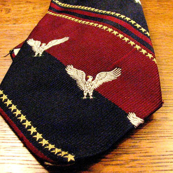 Pride of America Bicentennial Neck Tie, Briar Label, Embroidered Eagle and Stars, Wide Navy and Burgundy Stripes, 1776 1976