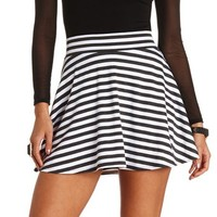 HIGH-WAISTED STRIPED SKATER SKIRT
