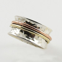 Spinner Ring Three Tone Sterling Silver Two Bands