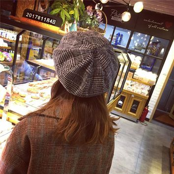 HT1448 Vintage Plaid Women Beret Retro Female Octagonal Cap Ladies Fancy Wool Winter Hat Western Style Artist Painter Beret Hats