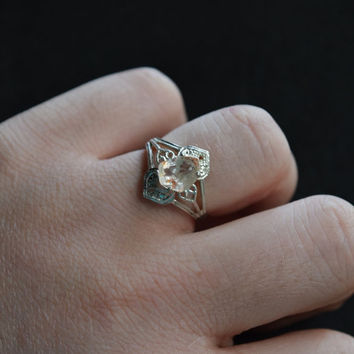 Oval Art Deco Diamond Engagement Ring Unique Delicate Engagement Ring Uncut Rough Diamond Solitaire Sterling Silver Filigree Size 7