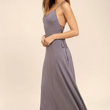 Ever Amazed Dusty Purple Lace-Up Maxi Dress
