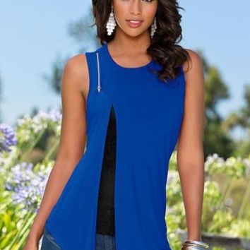 Blue Slit Tank Top B007715