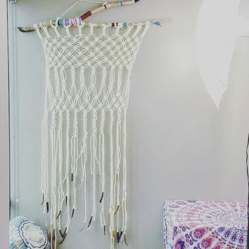 Macrame Curtain Wall Hanging- Wall Decor- Room Divider- Window Curtain- Modern Macrame- White decor- Boho Decor- Shabby Chic- Bohemian Style