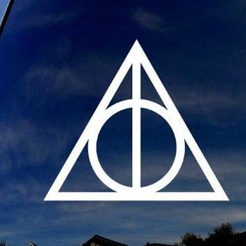 """Deathly Hallows Harry Potter (2 Stickers of 2"""") Die Cut Vinyl Car Decal Sticker for Car Window Bumper Truck Laptop Ipad Notebook Computer Skateboard Motorcycle"""
