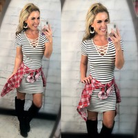 Let's Have Some Fun Striped Dress: White