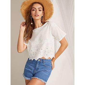 Scallop Hem Embroidery Eyelet Top