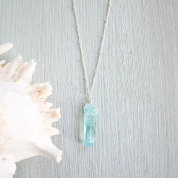 Apatite Crystal Necklace - Bright Blue / Green Crystal Pendant - Turquoise Crystal Necklace - Boho Apatite Necklace - Apatite Pendant