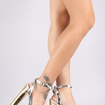 Qupid Metallic Two Tone Ankle Strap Chunky Platform Heel