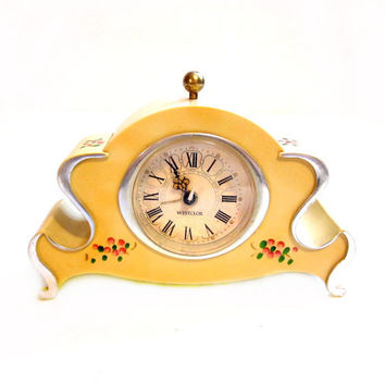 Vintage Hand Painted Westclox Wind Up Alarm Mantle Clock