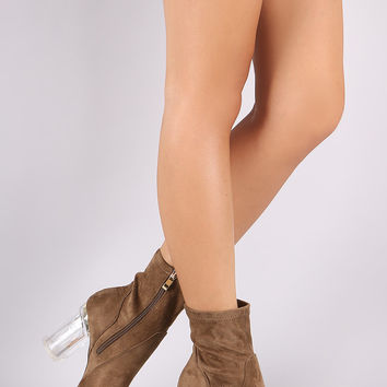 Suede Chunky Lucite Heeled Ankle Boots