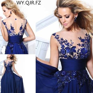 LAKD0329#New spring of 2017 Lace Up Blue lace host bride toast dinner party prom dress stage Bridesmaid Dresses Custom Plus Size