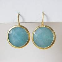 Amazonite Stone faceted Circle Earrings | moonfairy - Jewelry on ArtFire