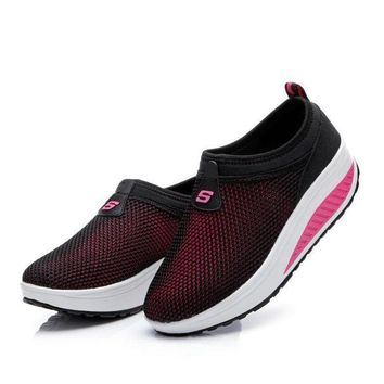 LMFIW1 2017 Mesh Swing Wedges Sneakers Female New Summer Outdoor Jogging Sports Shoes Damping