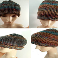 Tweed Strips Brown and Blue Beanie Hat,Women's Beanie Hat,Tweed Women's Beanie,Tweed Women's Hat,Winter Women's beanie,Brown Women's Beanie