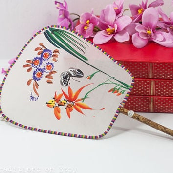 Silk Fan: Vintage Chinese Silk Screen Painted Hand Fan, Asian Art, Floral Fan