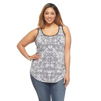 Women's Plus Size Burnout Tank Black & White Print - Ava & Viv