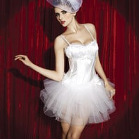 White Spaghetti Strap Corset with Tutu Skirt