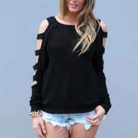 Black Cutout Long Sleeve Sweater