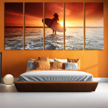 Surfing Wall Art Ocean Surfing Home Decor Photography / Tropical Beach House Artwork Sports Canvas Print / Ocean Water Sport Sunset Wall Art