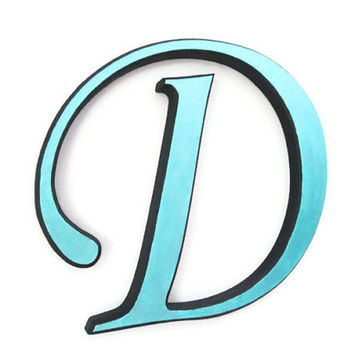 Painted Wooden Letter D decorative wall letters metallic aqua turquoise with black beveled edges made to order alphabet letters