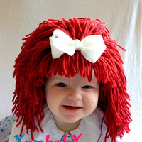 Raggedy Ann Wig Hat- Ready to Ship- Girl Wig- Halloween Costume Girls- Raggedy Ann- Red Hair Wig- Baby Costume-  Girl Photo Prop