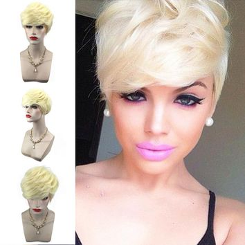 New style Women Short Gold Yellow Front Curly Hairstyle Synthetic Hair Wigs For Gold #03