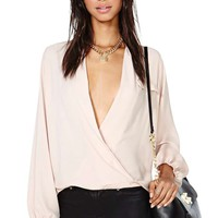 Chandler Wrap Blouse - Blush