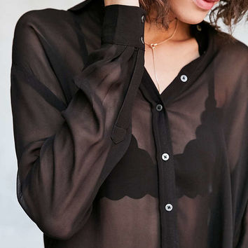 Silence + Noise Ace Sheer High/Low Button-Down Shirt - Urban Outfitters