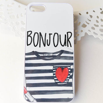 Bonjour phone case,french phone case ,Iphone Case, Iphone 6 case , Iphone 5 case, Iphone 4 case, custom iphone cover