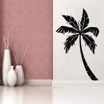 Floral Wall Decals Tree Decal Palm Tree Decor Summer Vinyl Sticker Hawaii Art Mural Home Decor Tropical Interior Design Bedroom Decor KY125