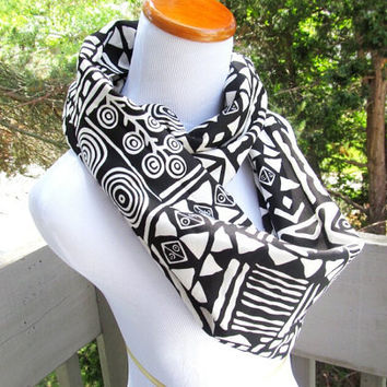 Black Tribal infinity soft cotton jersey knit circle scarf