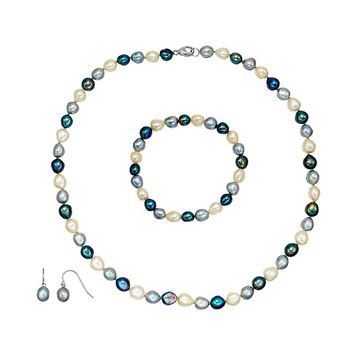 Freshwater by Honora Dyed Freshwater Cultured Pearl Sterling Silver Necklace, Bracelet & Drop Earring Set (Pearl/Black/Silver)