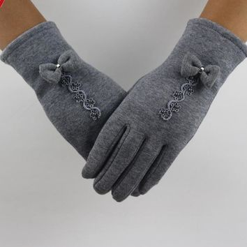 Feitong Brand Cotton Gloves Winter Warm Glove Women Bow Lace Decoration Wrist Thick Mitten Full Finger Touch Screen Glove#3