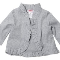 Zutano Baby Girls' Heathered Solid Ruffle Cardigan, Gray, 6 Months