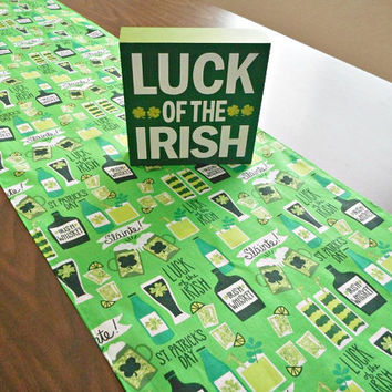 St. Patrick's Day Table Runner Irish Cocktails Whiskey Luck of the Irish Slainte Shamrocks Green Reversible