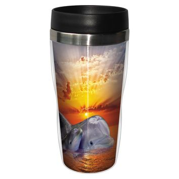Mom And Baby Dolphin Artful Travel Mug - Premium 16 oz Stainless Lined w/ No Spill Lid