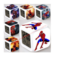Cool Spider Boy Gift LED Glowing Alarm Clock Despertador Digital infantile Reloj Reveil Cartoon Character Toys Men Children Gift
