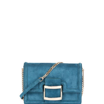 Roger Vivier Viv Micro Buckle Shoulder Bag, Teal