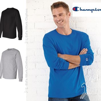 Champion Mens Blank Cotton Long Sleeve Tagless T Shirt CC8C Up to 2XL 2 Colors