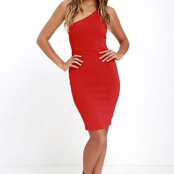 Honorable Mention Coral Red One Shoulder Dress