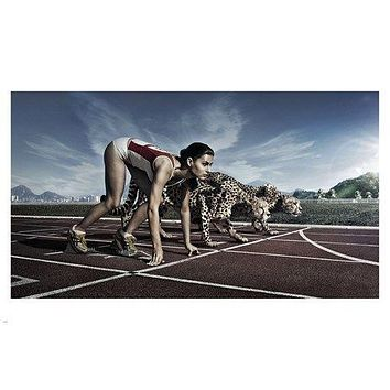 woman RACING CHEETAHS on TRACK poster 24X36 funny INVENTIVE animal friendly